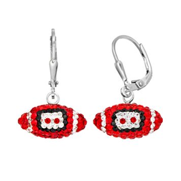 Louisville Cardinals Crystal Sterling Silver Football Drop Earrings