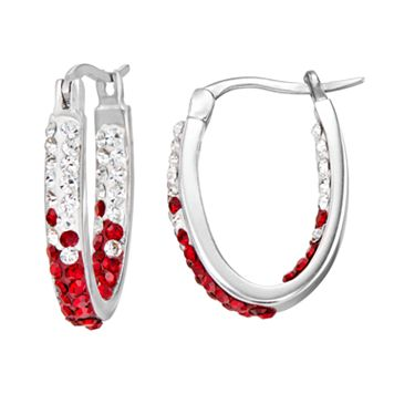 Louisville Cardinals Crystal Sterling Silver Inside Out U-Hoop Earrings