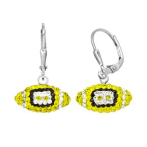 Michigan Wolverines Crystal Sterling Silver Football Drop Earrings