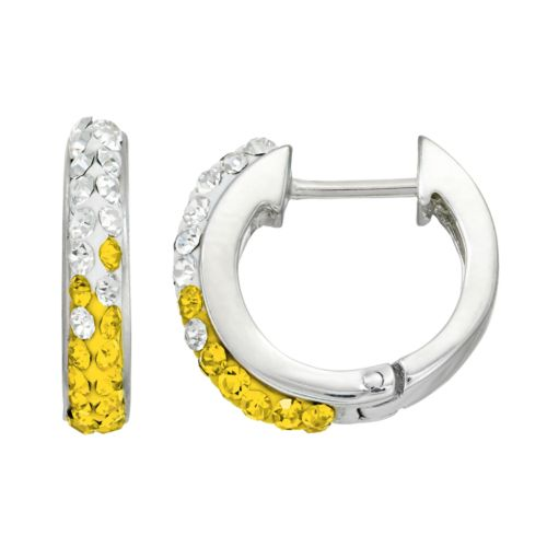 Michigan Wolverines Crystal Sterling Silver Huggie Hoop Earrings
