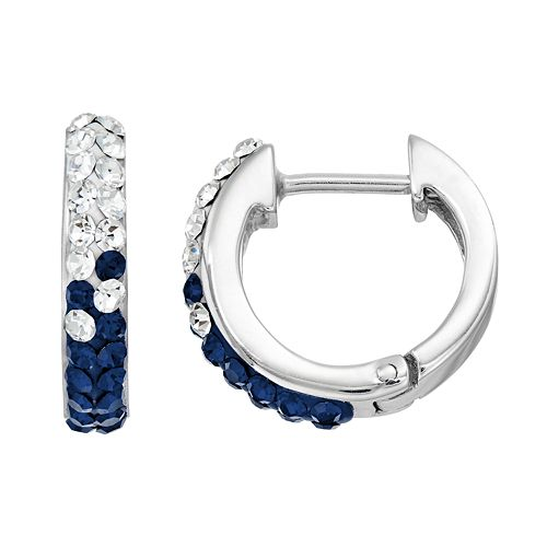 Michigan Wolverines Crystal Sterling Silver Huggie Hoop Earrings