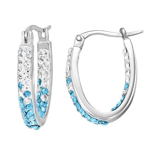 North Carolina Tar Heels Crystal Sterling Silver Inside Out U-Hoop Earrings