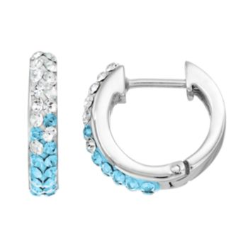 North Carolina Tar Heels Crystal Sterling Silver Huggie Hoop Earrings