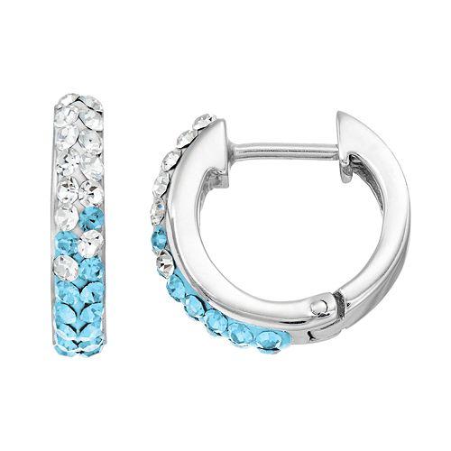 North Carolina Tar Heels Crystal Sterling Silver Huggie Hoop Earrings
