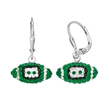 Oregon Ducks Crystal Sterling Silver Football Drop Earrings