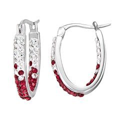 South Carolina Gamecocks Crystal Sterling Silver Inside Out U-Hoop Earrings