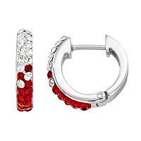 South Carolina Gamecocks Crystal Sterling Silver Huggie Hoop Earrings