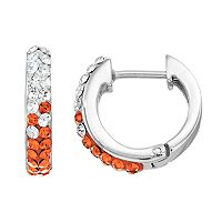 Tennessee Volunteers Crystal Sterling Silver Huggie Hoop Earrings