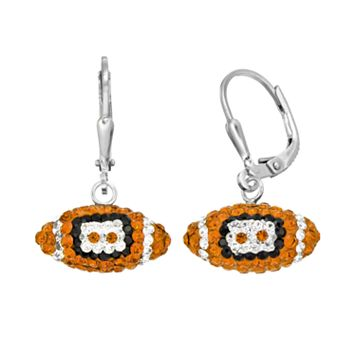 Texas Longhorns Crystal Sterling Silver Football Drop Earrings