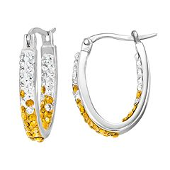 Texas Longhorns Crystal Sterling Silver Inside Out U-Hoop Earrings