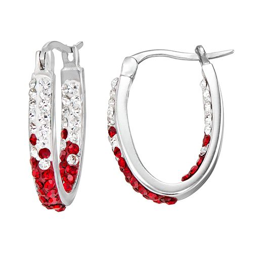 Wisconsin Badgers Crystal Sterling Silver Inside Out U-Hoop Earrings