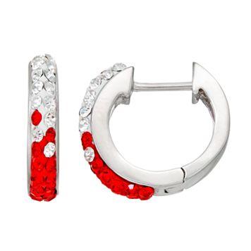 Wisconsin Badgers Crystal Sterling Silver Huggie Hoop Earrings