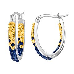 West Virgina Mountaineers Crystal Sterling Silver Inside Out U-Hoop Earrings