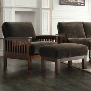 HomeVance 2-piece Ryder Textured Microfiber Chair and Ottoman Set