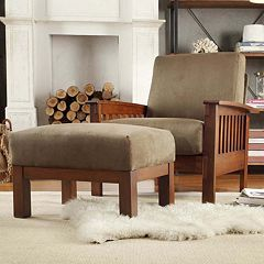 HomeVance Ryder Microfiber 2 pc Chair and Ottoman Set