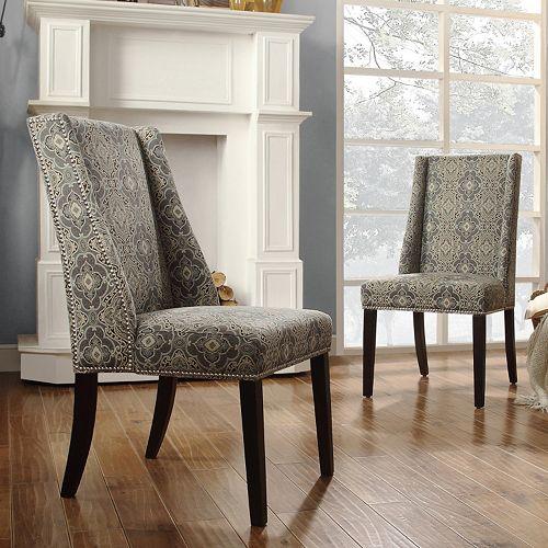 HomeVance Park Row 2-piece Damask Wingback Chair Set