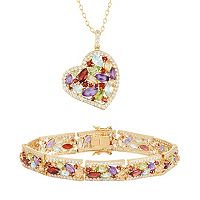 Gemstone 18k Gold Over Bronze Heart Pendant Necklace & Bracelet Set