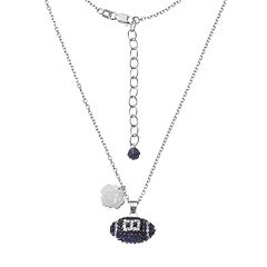 Auburn Tigers Sterling Silver Team Logo & Crystal Football Pendant Necklace