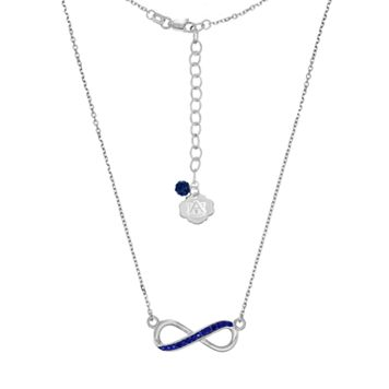 Auburn Tigers Sterling Silver Crystal Infinity Necklace