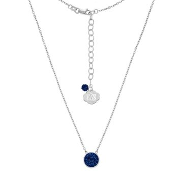 Auburn Tigers Sterling Silver Crystal Disc Necklace