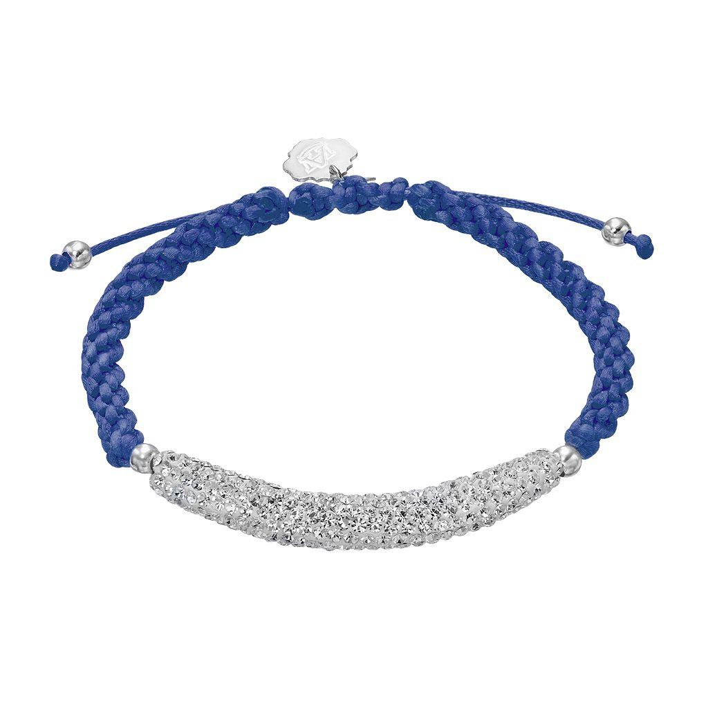 Auburn Tigers Crystal Sterling Silver Bar Link & Team Logo Charm Slipknot Bracelet