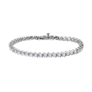 Lab-Created White Sapphire Sterling Silver Tennis Bracelet