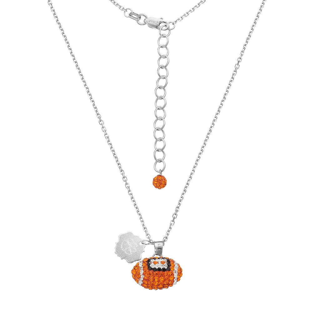 Clemson Tigers Sterling Silver Team Logo & Crystal Football Pendant Necklace