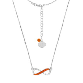 Clemson Tigers Sterling Silver Crystal Infinity Necklace