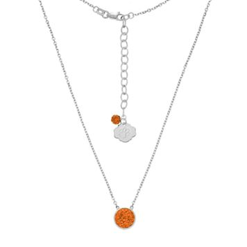 Clemson Tigers Sterling Silver Crystal Disc Necklace