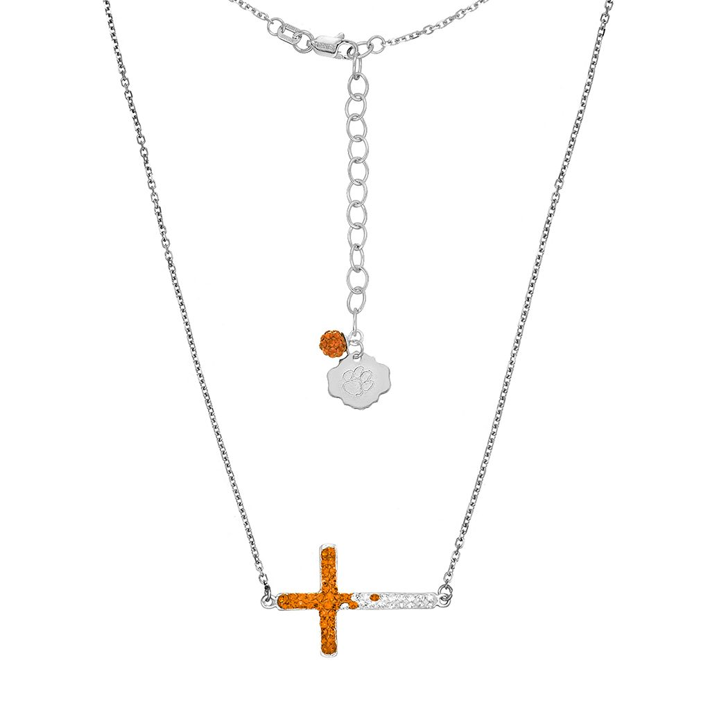 Clemson Tigers Sterling Silver Crystal Sideways Cross Necklace