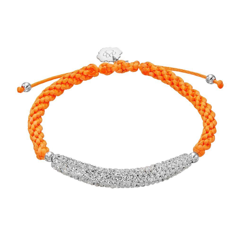 Clemson Tigers Crystal Sterling Silver Bar Link & Team Logo Charm Slipknot Bracelet