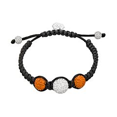 Clemson Tigers Crystal Ball & Sterling Silver Team Logo Slipknot Bracelet