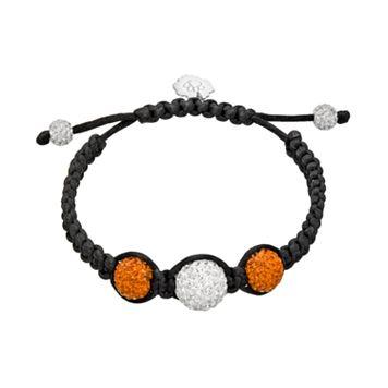 Clemson Tigers Crystal Ball & Sterling Silver Team Logo Slipknot Bracelet