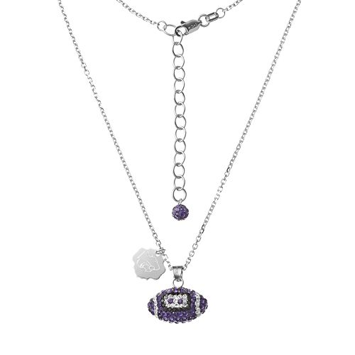 Kansas State Wildcats Sterling Silver Team Logo & Crystal Football Pendant Necklace