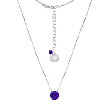 Kansas State Wildcats Sterling Silver Crystal Disc Necklace