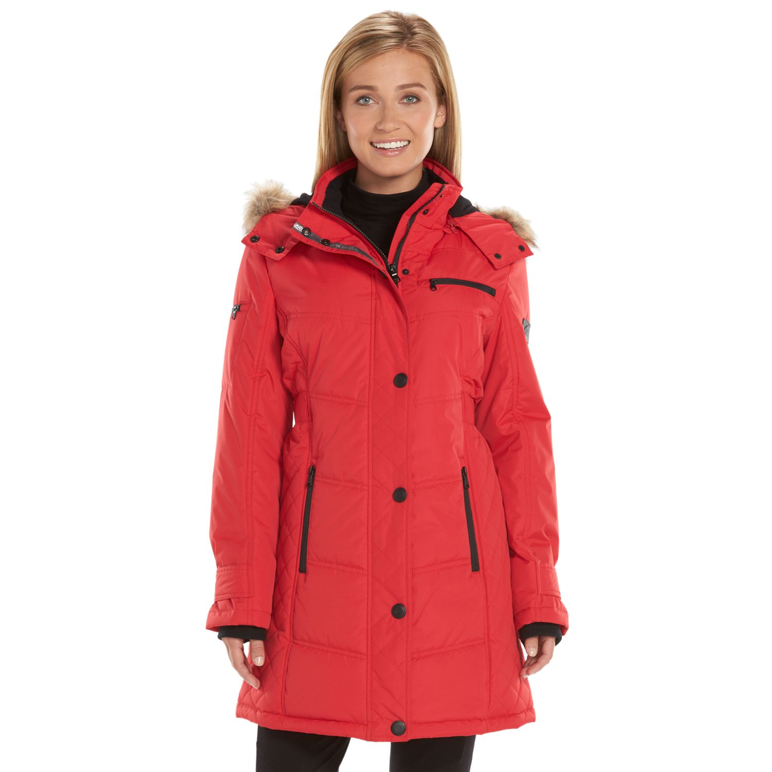 Womens Hemisphere Hooded Quilted Storm Coat
