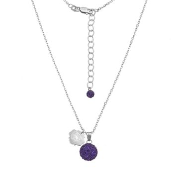 Kansas State Wildcats Crystal Sterling Silver Team Logo & Ball Pendant Necklace
