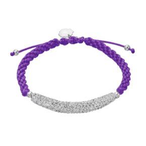 Kansas State Wildcats Crystal Sterling Silver Bar Link & Team Logo Charm Slipknot Bracelet