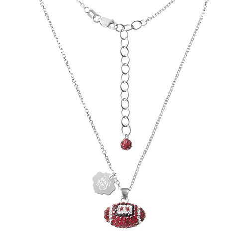 Florida State Seminoles Sterling Silver Team Logo & Crystal Football Pendant Necklace