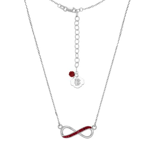 Florida State Seminoles Sterling Silver Crystal Infinity Necklace