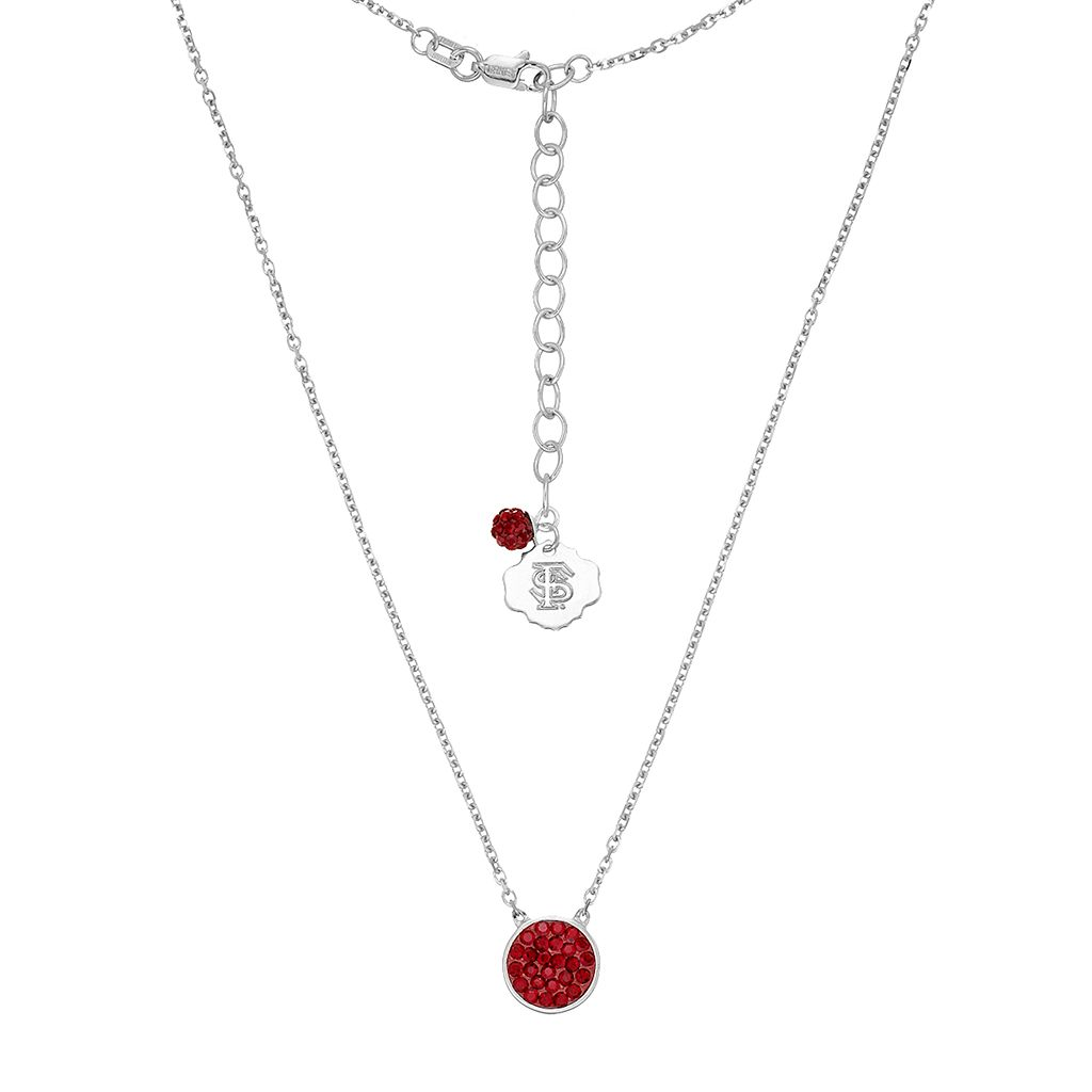 Florida State Seminoles Sterling Silver Crystal Disc Necklace