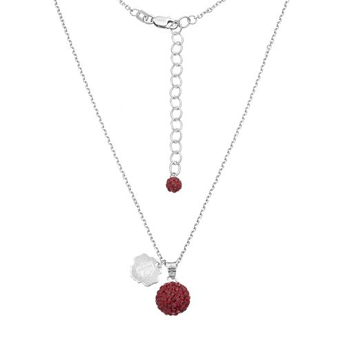 Florida State Seminoles Crystal Sterling Silver Team Logo & Ball Pendant Necklace