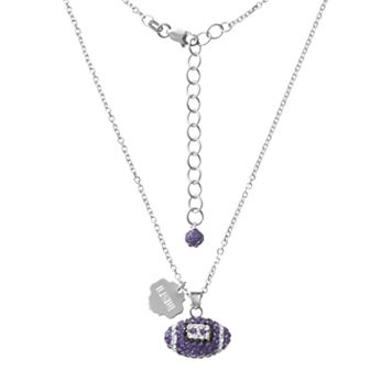 LSU Tigers Sterling Silver Team Logo & Crystal Football Pendant Necklace