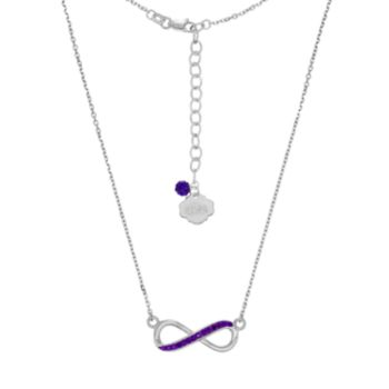 LSU Tigers Sterling Silver Crystal Infinity Necklace