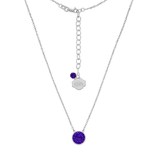 LSU Tigers Sterling Silver Crystal Disc Necklace