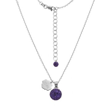LSU Tigers Crystal Sterling Silver Team Logo & Ball Pendant Necklace