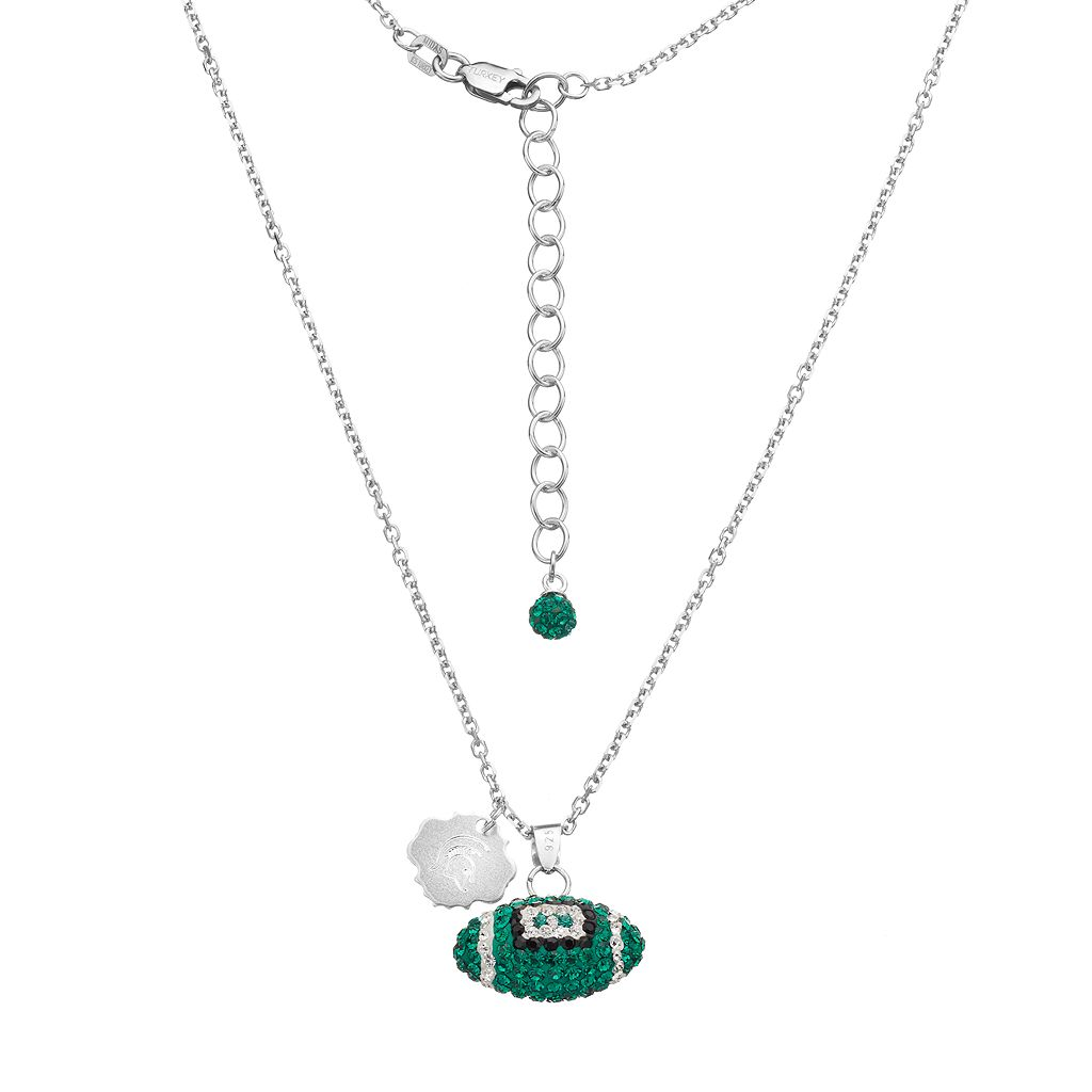 Michigan State Spartans Sterling Silver Team Logo & Crystal Football Pendant Necklace