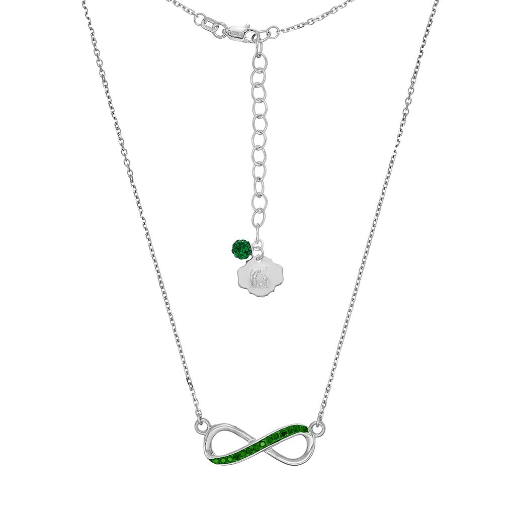 Michigan State Spartans Sterling Silver Crystal Infinity Necklace