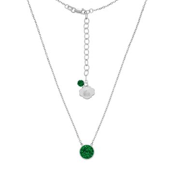 Michigan State Spartans Sterling Silver Crystal Disc Necklace