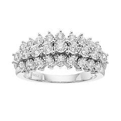 1/2 Carat T.W. Diamond Sterling Silver 3-Row Ring